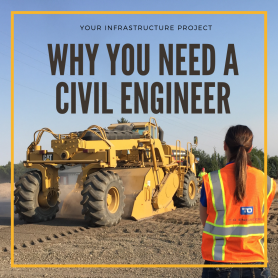 text overlay of blog title over civil engineer facing construction equipment