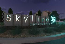 Skyline Apartments Signage and Landscape